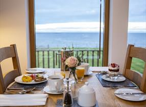 Breakfast looking out over the sea